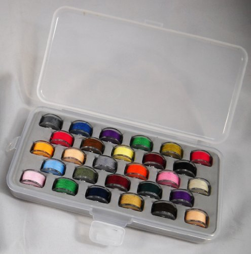Bobbin Box Organizer with 28 Bobbins Threaded with Assorted Color Thread