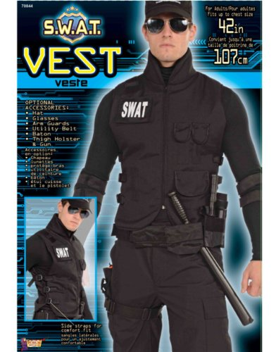 Adult Black SWAT Special Ops Soldier Army G.I. Costume Tactical Vest