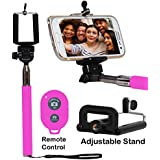 Selfie Stick Monopod With Bluetooth Remote Wireless Shutter Connectivity Compatible For Micromax Canvas Amaze...