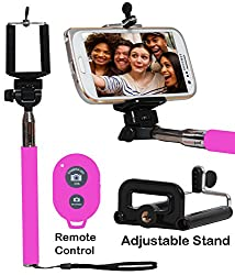 Selfie Stick Monopod With Bluetooth Remote Wireless Shutter Connectivity Compatible For Alcatel One Touch 20.05-PINK