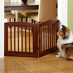 "Orvis Panel Zig-zag Dog Gates / Only 24""h Four-panel Gate: Covers Up To A 6' Span, Weighs 18 1/2 Lbs., Dark Cherry,"