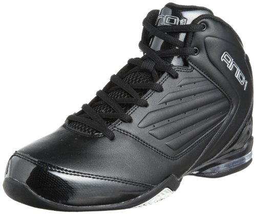 AND 1 Men's Master 2 Mid Basketball Shoe, Black/Black/Silver, 10.5 M US
