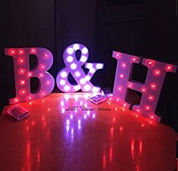 Freestanding LED White Light Up Letters, Letter Lights, wedding Letters, Marquee Letters, Wall Mounted, Wedding Letters, 3 letter set (not included) (8 inches)
