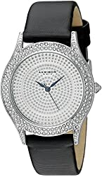 Akribos XXIV Women's AK896SS Round Silver Dial Three Hand Quartz  Strap Watch