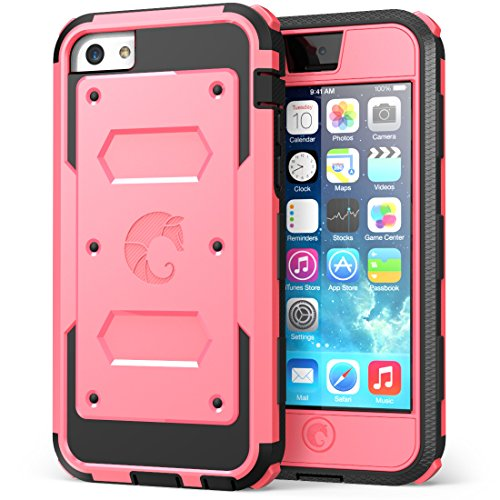 iPhone 5C Case, i-Blason Armorbox for Apple iPhone 5C Dual Layer Hybrid Full-body Protective Case with Front Cover and Built-in Screen Protector and Impact Resistant Bumpers for iPhone 5C (Apple Pink) (Protective Pink Iphone 5c Case compare prices)