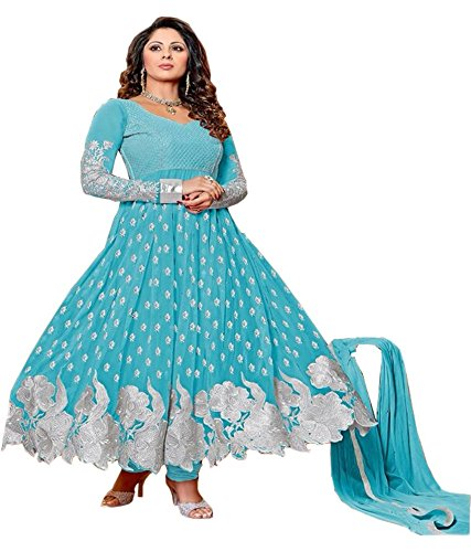 Metroz Womens Faux Georgette Anarkali Unstitched Dress Material (Astrd59 _Firozi)