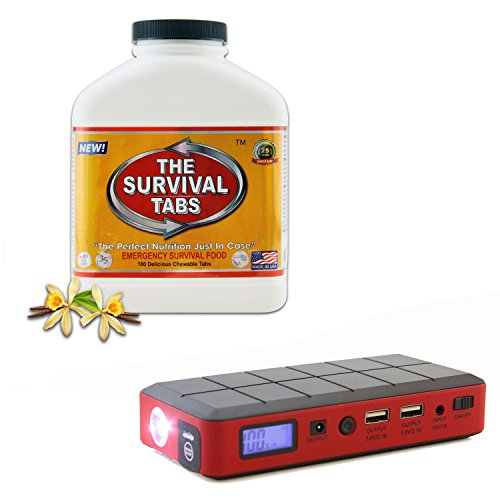 Survival Meal Kit 15-Day Supply Ultimate Bugout Food 25 Years Shelf Life Gluten Free And Non-Gmo (Vanilla Malt Flavor) + 12000 Mah Portable Jump Starter Power Bank And External Battery Pack