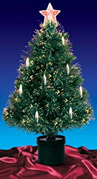 #!Cheap 4' Pre-Lit Fiber Optic Artificial Christmas Tree with Candles - Multi Lights