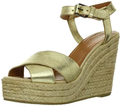 Marc by Marc Jacobs Women's Ankle Strap Open-Toe Espadrille Wedge Sandal,Platinum,38 EU/8 M US