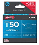 Arrow 504 Genuine T50 1/4-Inch Staples, 1,250-Pack
