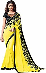Fableela Women's Chiffon Saree with Blouse Piece (Yellow)