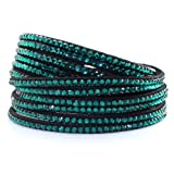 Korea Swarovski Soft and Comfortable Double Row and Two Adjustable Size Clasps Shiny Crystal Friendship Bracelet