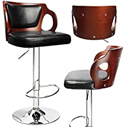 Homall Walnut Bentwood Adjustable Height Bar Stool with Black vinyl seat to decorate your Home,Kitchen,Office Extremely Comfy with seat back pad (Walnut Set of 1)
