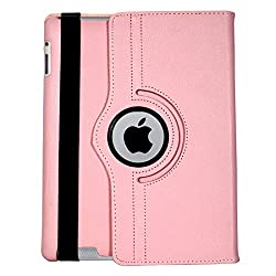 iPad 3 Case, Flip Cover 360 Degree Series PU Leather 360 Degree Rotating Flip cover With auto wake sleep (Pink)