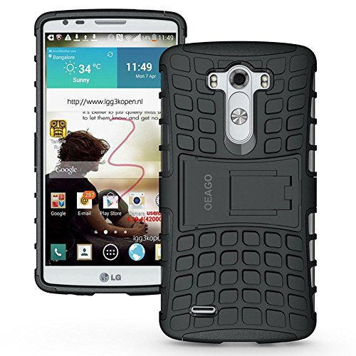 LG G3 Case, OEAGO LG G3 Case Cover Accessories [Shockproof] [Impact Protection] Tough Rugged Dual Layer Protective Case with Kickstand for LG G3 - Black (Lg G3 Phone Case With Kickstand compare prices)