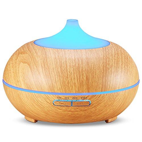 300ml Cool Mist Ultrasonic Humidifier, Amir® Wood Grain Essential Oil Diffuser with...