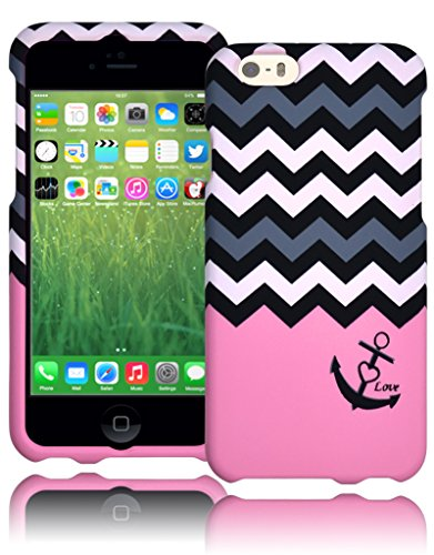 "Bastex Heavy Duty Two Piece Hard Snap Together Pink Case Cover With Grey And White Chevron Love Anchor Design Shell For Apple Iphone 6, 4.7"" 6Th Generation front-327584"