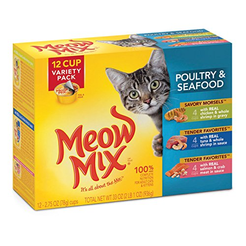 Meow Mix Poultry and Seafood Variety Pack, 12-Count