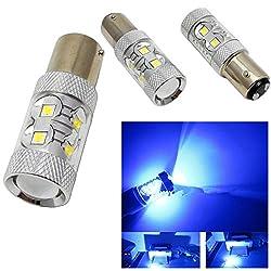 See 2Pcs 1157 Blue BAY15D 60W High Power LED Car Parking Turn Signal Light Bulbs Details