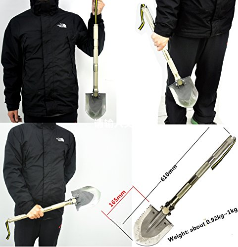 Multi-function Folding Shovel+Portable Camouflage fatigues bag Axe Hoe Hammer Knife Fire Flint Whistle Camping Hunting Self Driving Tourniquet Solo Snowberg...
