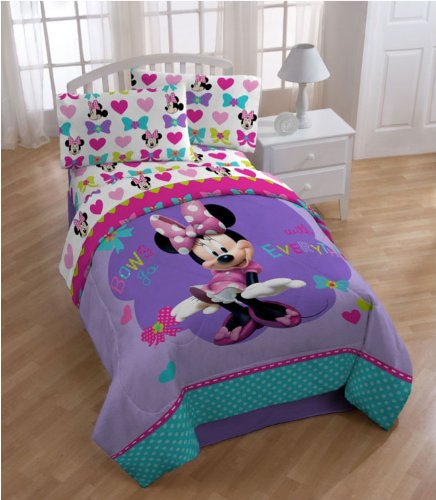 Disney Minnie Mouse 3 Piece Twin Sheet Set Cotton Rich Ultra Soft Sheets