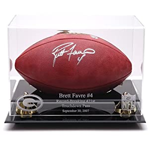 Mounted Memories Green Bay Packers Brett Favre Record Breaker Football Display Case