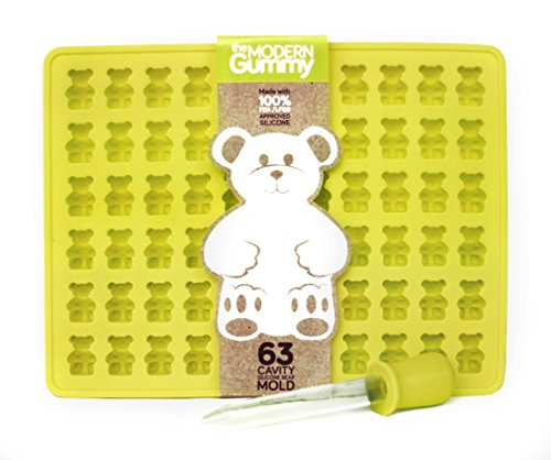 Read About 63 Cavity Silicone Gummy Bear Mold with BONUS DROPPER FOR EASY FILLING! Best Gummy Candy ...