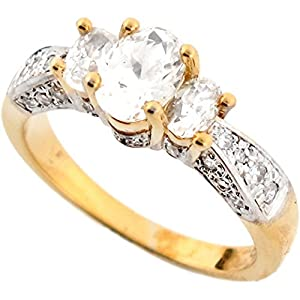 10k Two Tone Real Solid Gold Shining Oval CZ Three Stone Fancy Ring