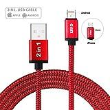 USBケーブル XSUID効率的な防呆 最新 ユニーク 本当に 2in1 ケーブル 1 プラグ 2 システム 対応 iPhone IOS/Android システム データ転送 充電ケーブル TPE素材 アルミコンパクト端子 1m (ブラック) (赤い)
