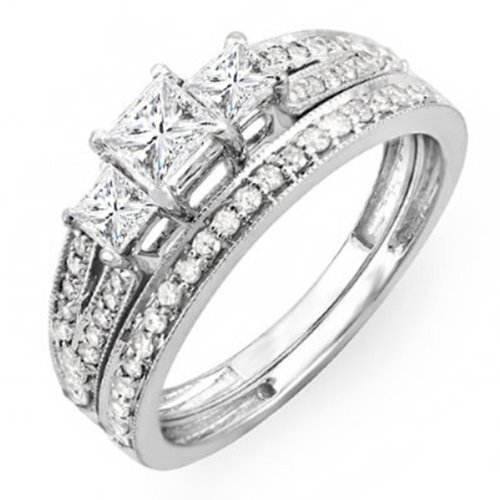 ... Princess Cut 3 Stone Diamond Ladies Engagement Bridal Ring Set
