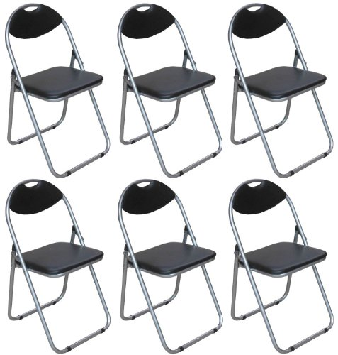Pack of 6 - Black Padded Folding Office, Computer, Desk Chairs