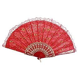 Generic Chinese Foldable Dual Lace Trim Hand Fan Wing Chun Dancing Fan Red