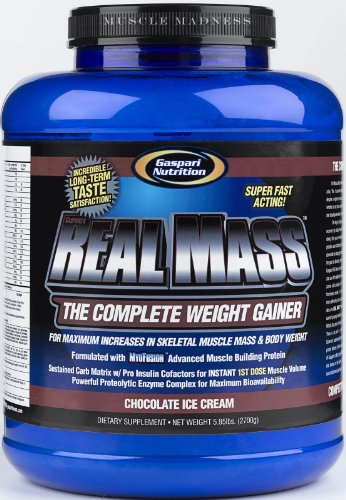 Gaspari Nutrition Real Mass 2700 g Chocolate Ice Cream Weight Gain Shake Powder