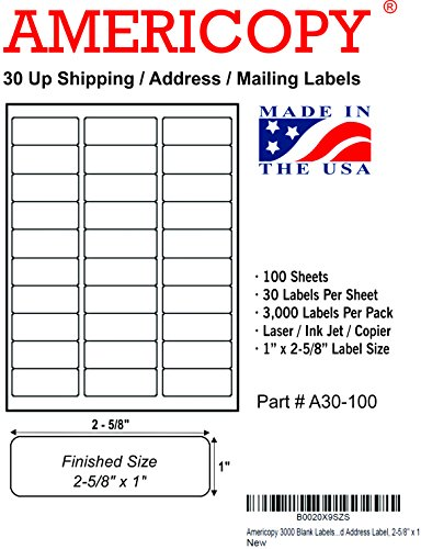 Americopy 3000 blank labels name and address label 2 5 8 for 33 up label template word