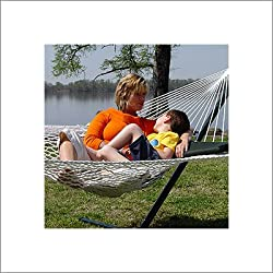 Captain's Line Deluxe Polyester Rope Hammock and Green Pillow