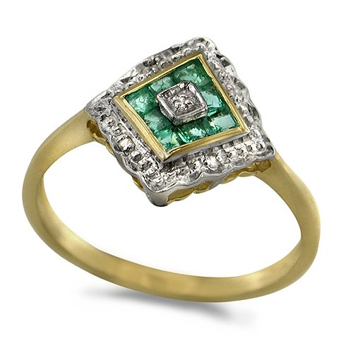 9ct 2 Colour Gold Ladies Emerald and 2pts of Diamonds Set Diamond Shape Dress...