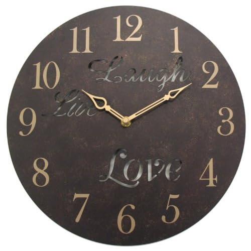 Geneva 12 Inch Live Laugh Love Metal Wall Clock