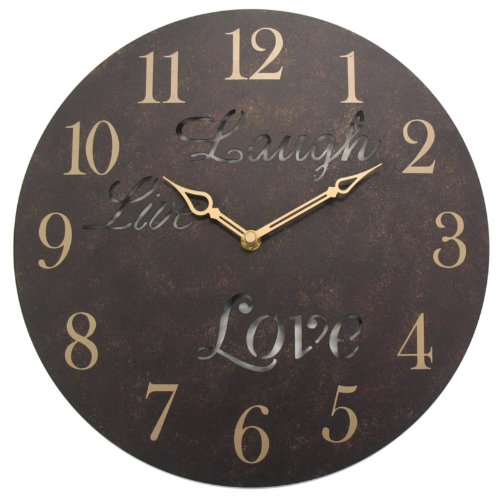 Geneva 12-Inch Live Laugh Love Metal Wall Clock