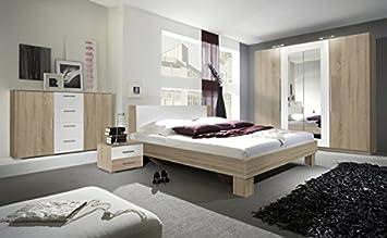 Schlafzimmer komplett 4-teilig 54013 sonoma eiche hell / weiß