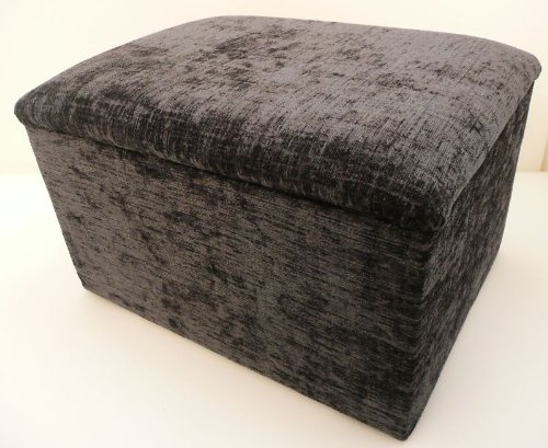 Storage box footstool handy size ideal toy bin with hinged upholstered lid (Grey chenille)