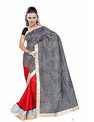 Dancing Girl Red Black Bhagalpuri Printed Satin Saree