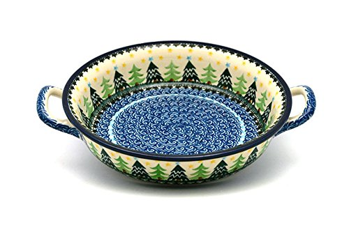 Polish Pottery Baker - Round with Handles - Medium - Christmas Trees Polish Pottery Christmas Tree