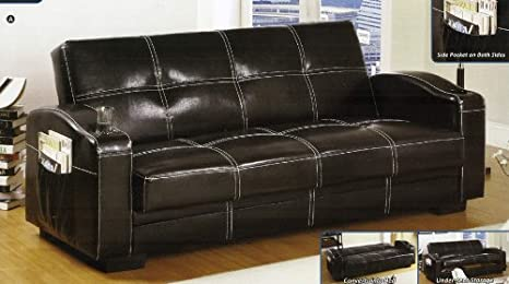 Ariton Dark Espresso Finish Leather Futon Sofa Set