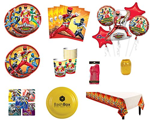 BashBox Power Rangers Birthday Party Supplies Pack for 8 Guests Including Plates, Cups, Napkins, Table Cover, Balloon Bouquet, Cutlery & More
