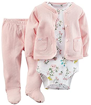Carter's Baby Girls' 3 Piece Footed Set (Baby)