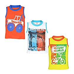 Orange and Orchid Boys Casual Printed Cotton Round Neck Sleeveless T-Shirt - Pack of 3