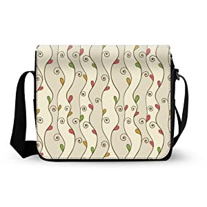 Twigs and Leaf Oxford Fabric Messenger Bag