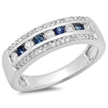 buy 14K White Gold Round Blue Sapphire & White Diamond Ladies Anniversary Wedding Band (Size 7)