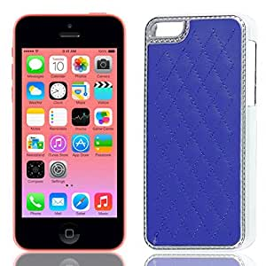 Royal Blue Soft Leather Coated Chrome Plastic Cover Case for iPhone 5C
