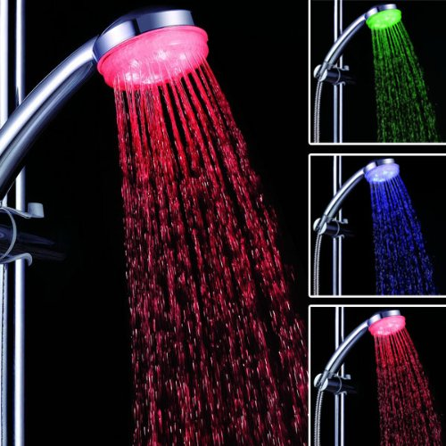 Color Temperature Controlled Color Changing Led Shower Head For Bathroom